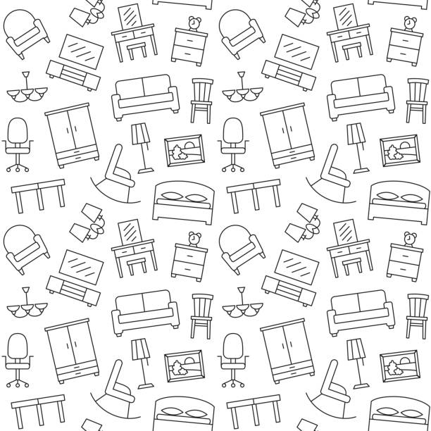 Furniture seamless pattern. Background, illustration, vector, endless texture. Furniture seamless pattern. Background, illustration, vector, endless texture bedroom patterns stock illustrations