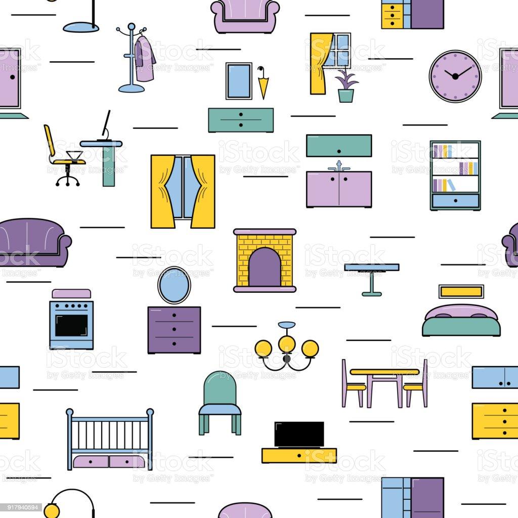 Nahtlose Muster Vektor Möbel Möbeldesign Im Inneren Des Schlaf Oder ...