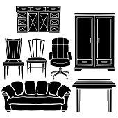 Furniture set, chair, armchair, sofa, table, cupboard