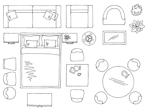 Furniture set floor plan architect design element graphic black white top sketch aerial view isolated illustration vector