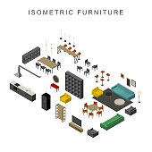 Furniture set in isometric view