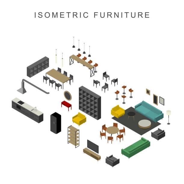 illustrations, cliparts, dessins animés et icônes de meubles mis en vue isométrique - hall d'accueil