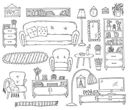 Furniture - Set of design elements. Sketch living room.