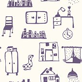 Furniture set seamless pattern