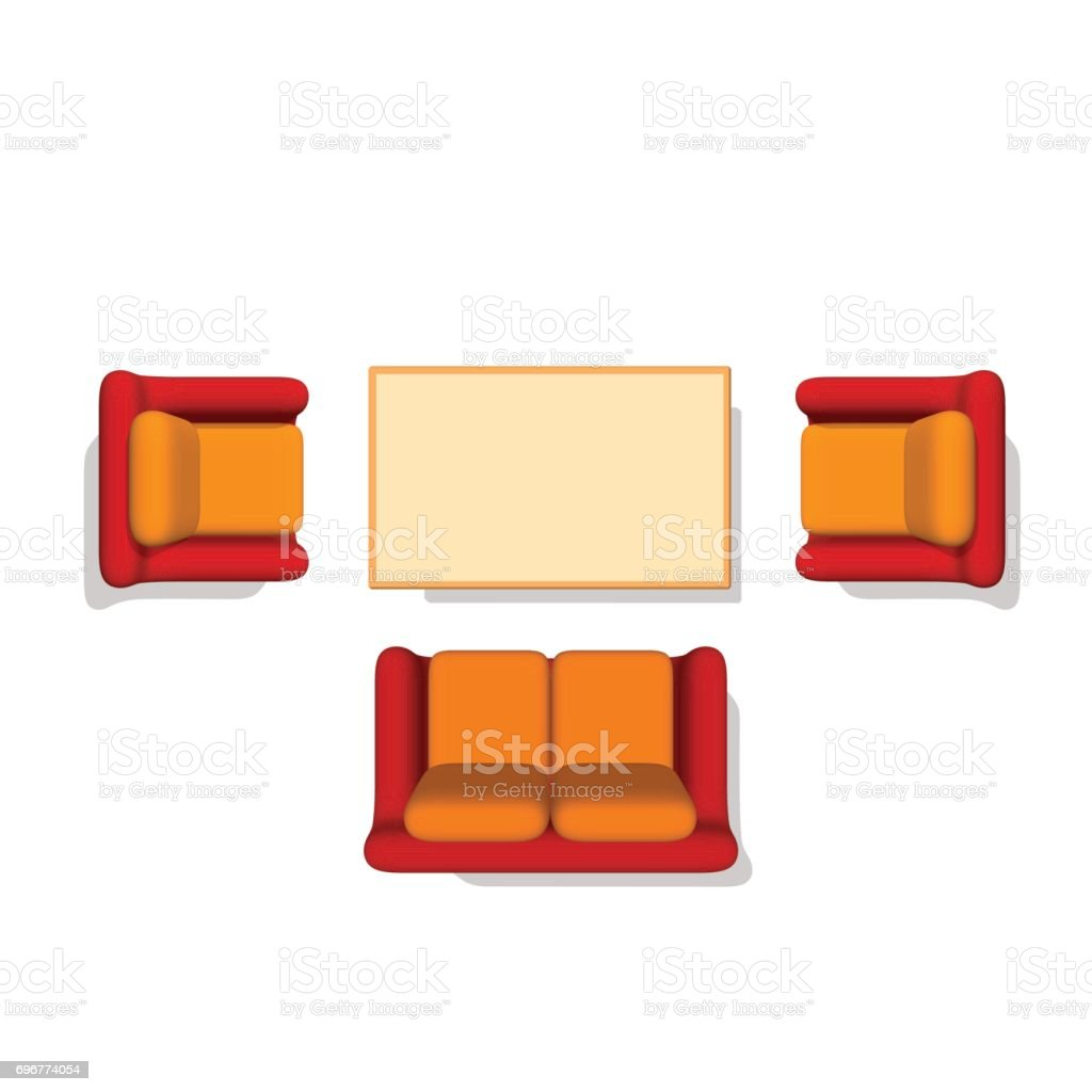 Furniture Set SofaArmchairTable 3d Vector Illustration Top View