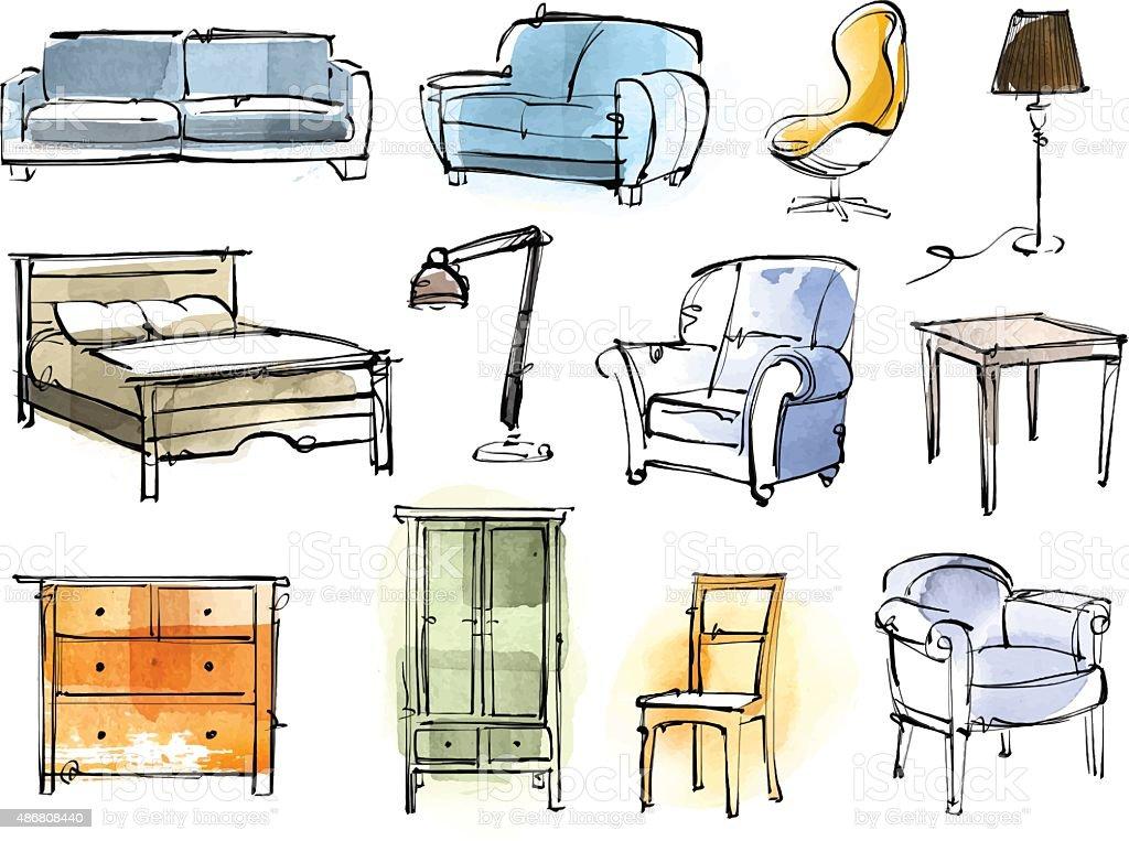Ensemble de mobilier - Illustration vectorielle