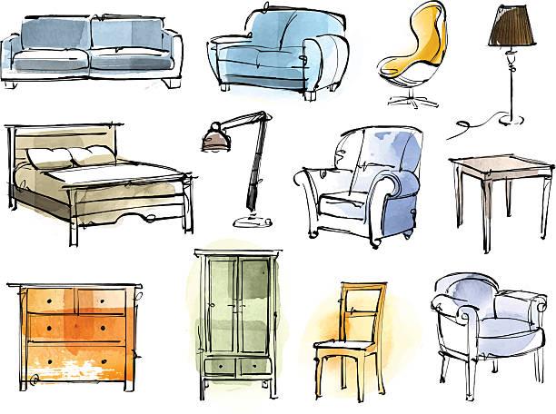 bildbanksillustrationer, clip art samt tecknat material och ikoner med furniture set - möbel