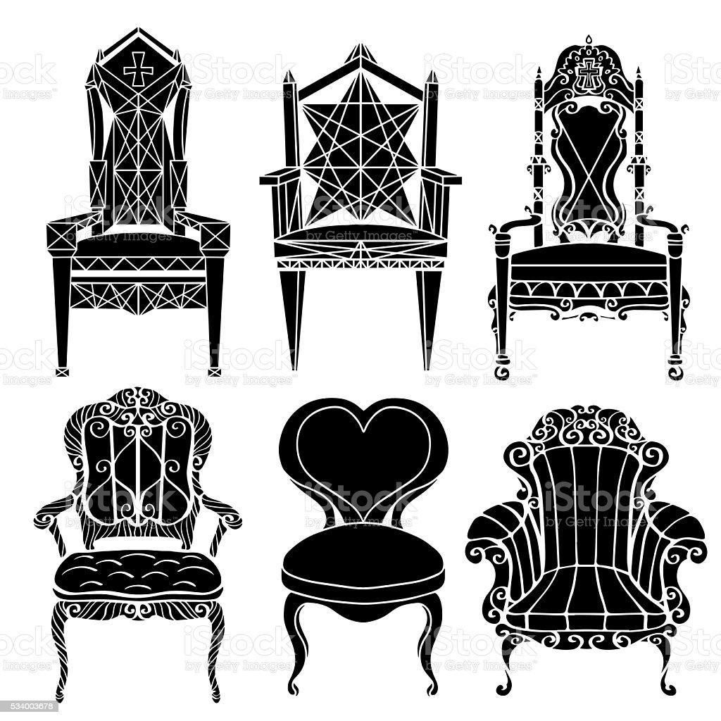 Furniture set vector art illustration