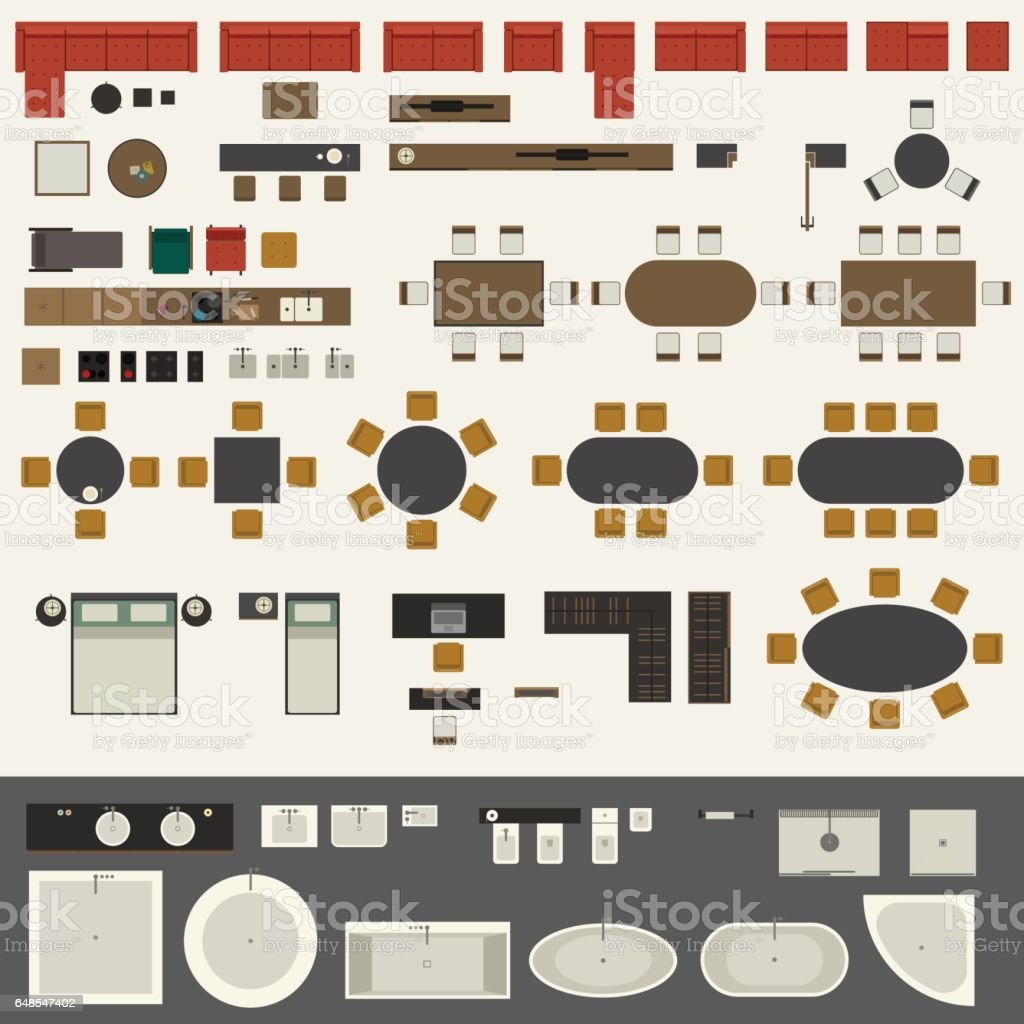 Furniture set vector art illustration