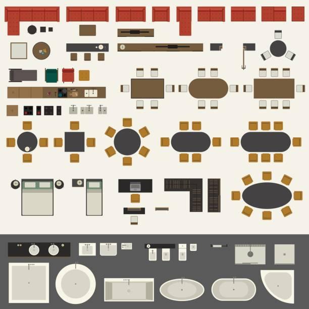 illustrazioni stock, clip art, cartoni animati e icone di tendenza di set di mobili - kitchen room