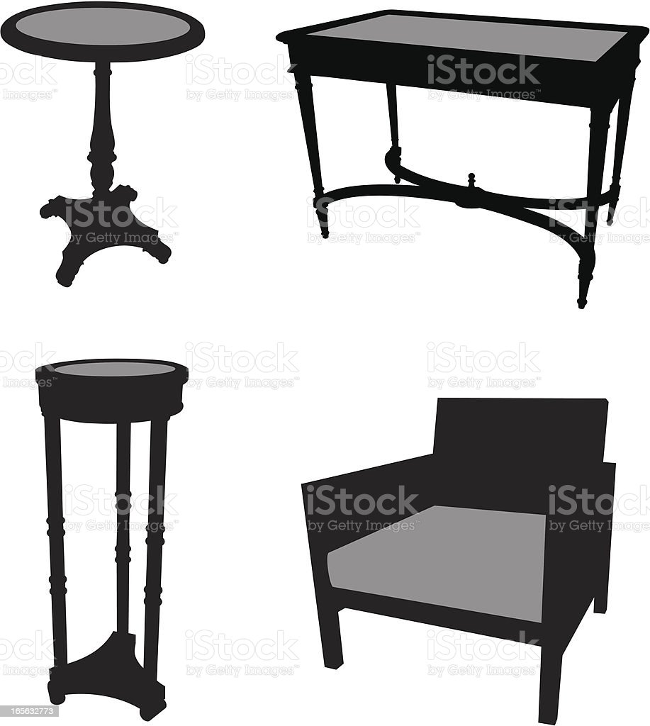 Furniture Silhouette Set vector art illustration