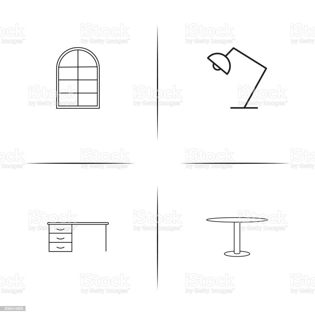 Möbeleinfache Lineare Iconset Einfache Gliederung Symbole Stock ...