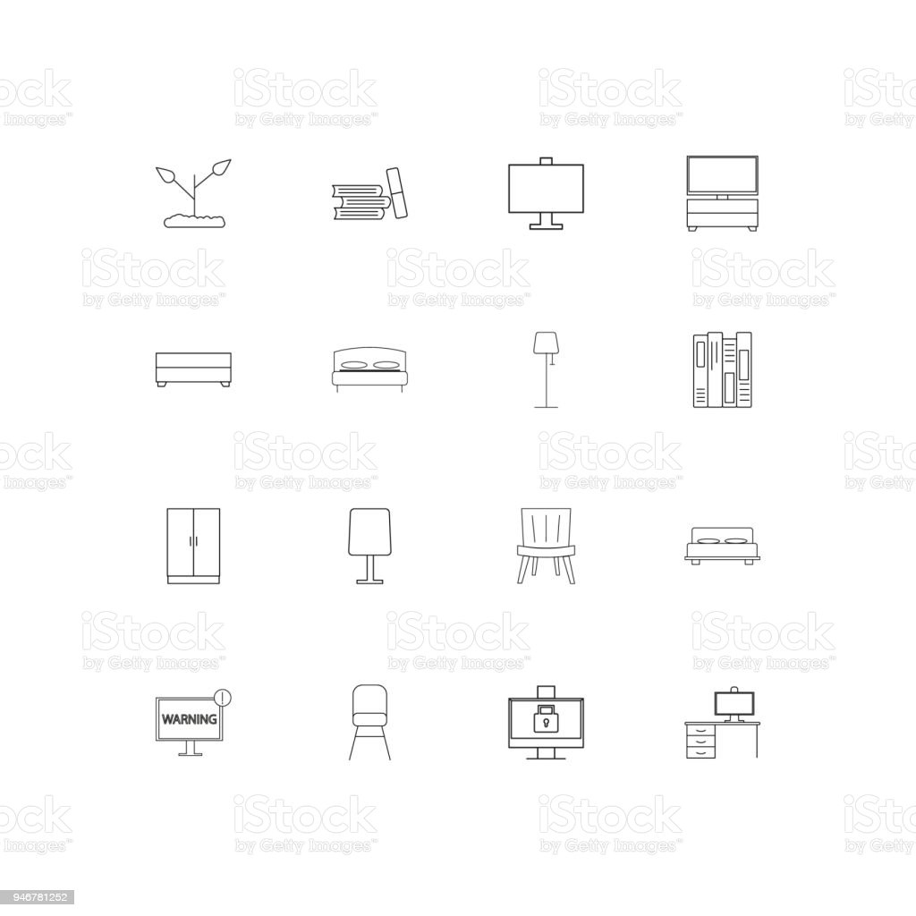 Furniture simple linear icons set. Outlined vector icons vector art illustration