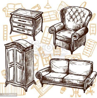 istock furniture sketch set 1201099503