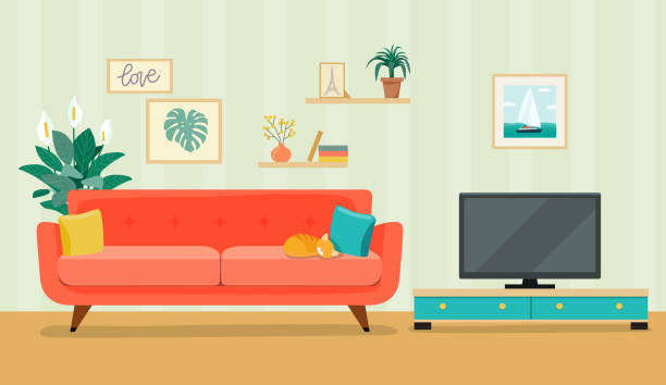 2 022 Living Room Tv Illustrations Clip Art Istock