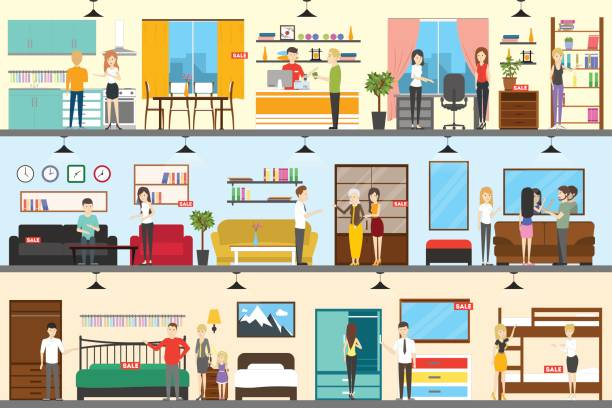 Furniture store interior. Furniture store interior. Buying bed, sofa, kitchen and others showroom stock illustrations