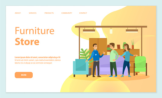 Furniture Store Seller and Clients in Shop Vector
