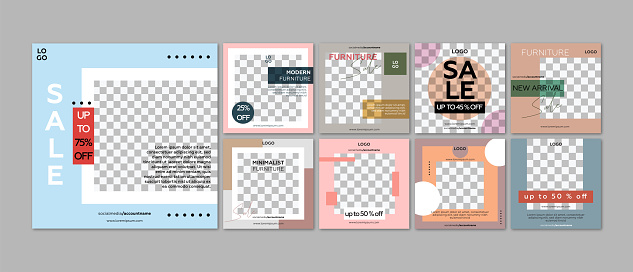 Furniture store social media post templates. Colorful and geometric shapes.