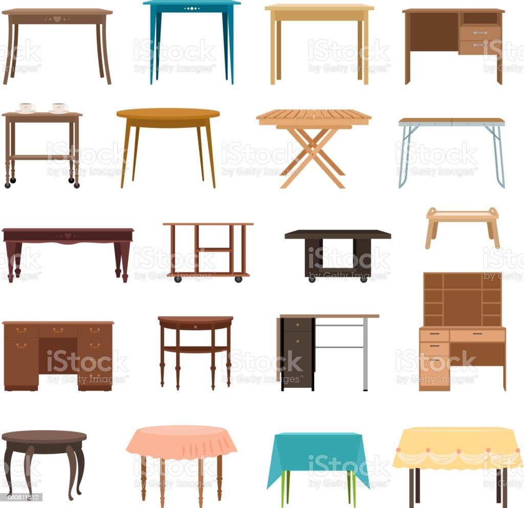 Möbel Tisch Isoliert Auf Weißem Hintergrund. Modern Und Retro Tische, Retro  Und Büro