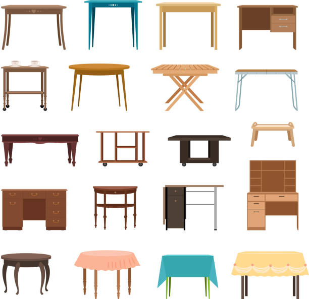 stockillustraties, clipart, cartoons en iconen met meubels tabel geïsoleerd op een witte achtergrond. modern en retro tafels, retro en kantoor bureau pictogrammen vectorillustratie - tafel