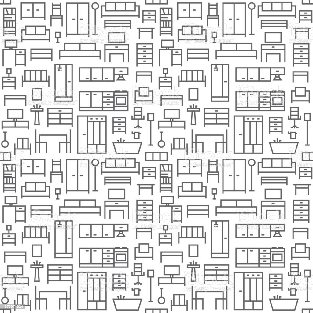 Furniture Themed Vector Seamless Outline Pattern Background 1 Stock