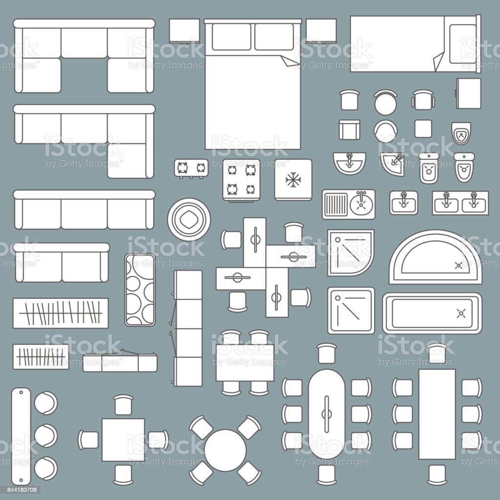 Ilustra o de plano de arquitetura de vista superior de for Mobilia domestica