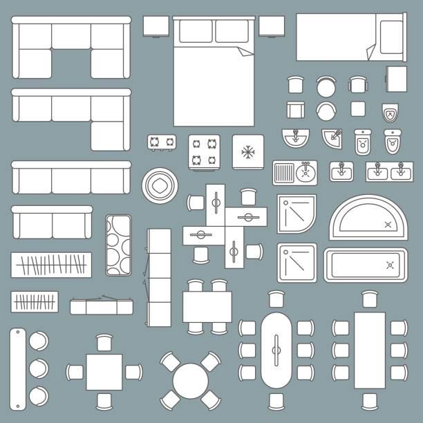 möbelplan draufsicht architektur - bodenbetten stock-grafiken, -clipart, -cartoons und -symbole