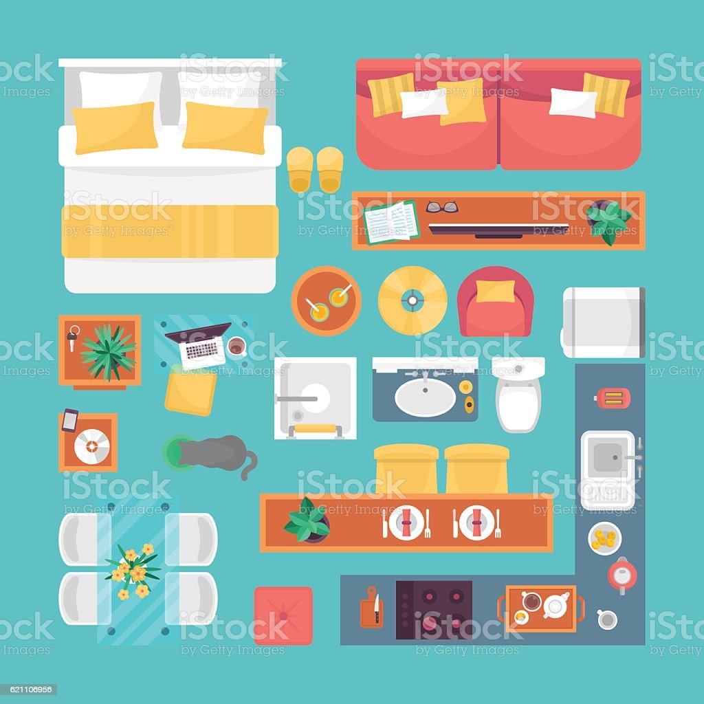 Set Interior Design House Rooms Furniture Stock Vector: Furniture Top View Set For Interior Design Isolated Vector