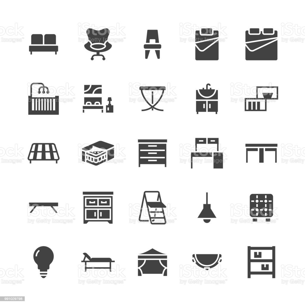 Furniture vector flat glyph icons. Living room sink, bedroom, mattress, office chair, sofa, garden tent dining table, bed stepladder. Signs interior store. Solid silhouette pixel perfect 48x48