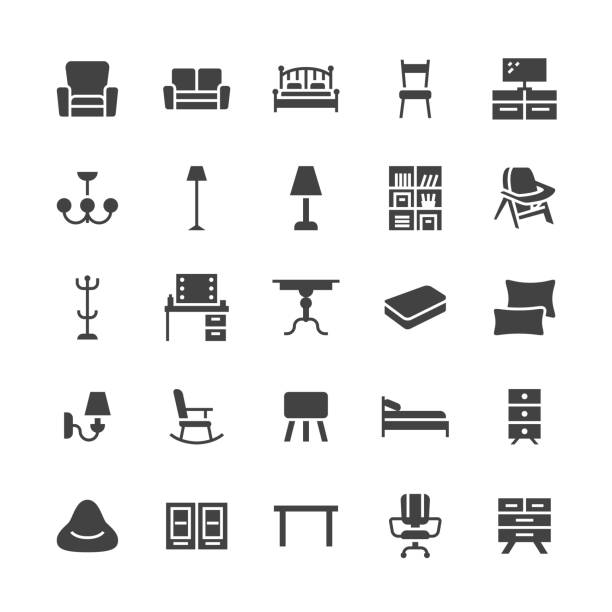 ilustrações de stock, clip art, desenhos animados e ícones de furniture vector flat glyph icons. living room tv stand, bedroom, home lighting, rocking chair, sofa, bedding dining table, bed, bookcase. signs interior store. solid silhouette pixel perfect 48x48 - sideboard