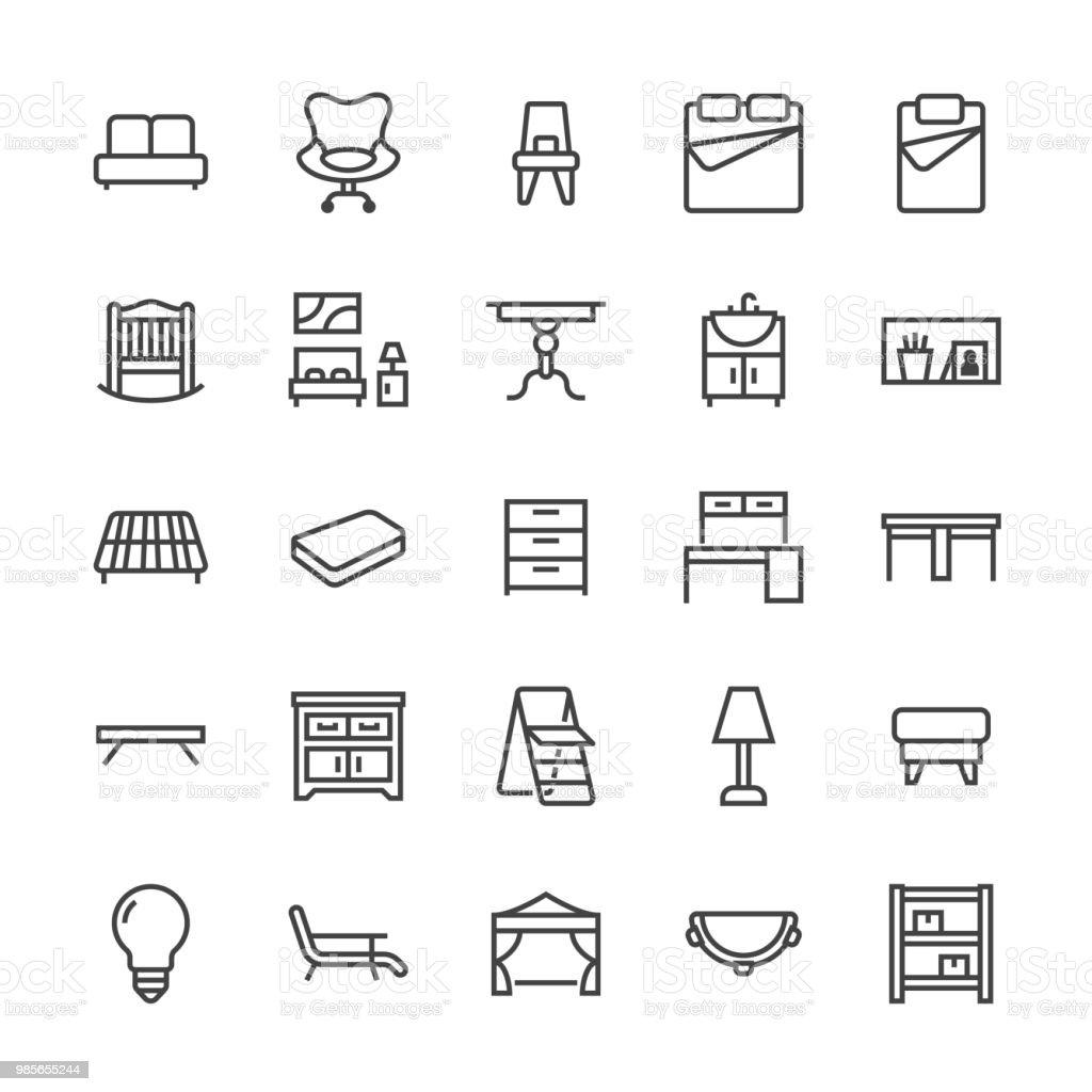 Ilustración de Iconos De Línea Plana De Vector De Muebles Lavabo Del ...