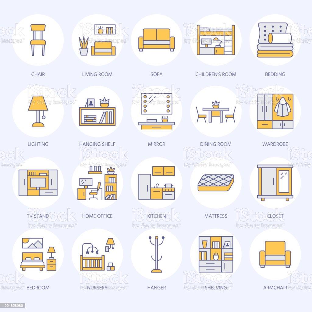 Ilustración de Iconos De Línea Plana De Vector De Muebles Soporte De ...