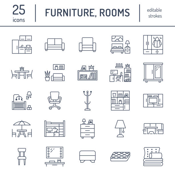 illustrazioni stock, clip art, cartoni animati e icone di tendenza di furniture vector flat line icons. living room tv stand, bedroom, home office, kitchen corner bench, sofa, nursery, dining table, bedding. thin signs collection for modern interior store - cucina domestica