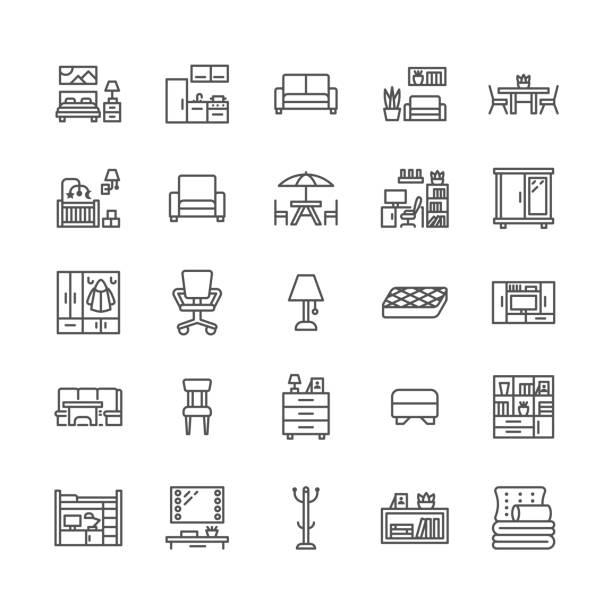 illustrations, cliparts, dessins animés et icônes de icônes de mobilier vecteur ligne plate. meuble tv salon, chambre, bureau à domicile, banc de coin cuisine, canapé, pépinière, table à manger, literie. collection de panneaux minces pour store intérieur. pixel perfect 64 x 64 - hall d'accueil