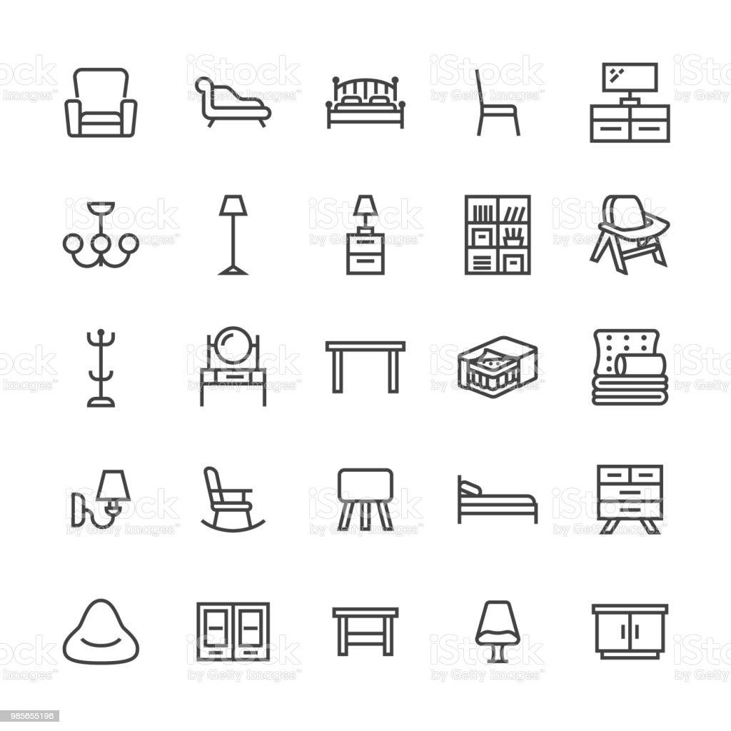 Ilustración de Iconos De Línea Plana De Vector De Muebles Soporte Tv ...