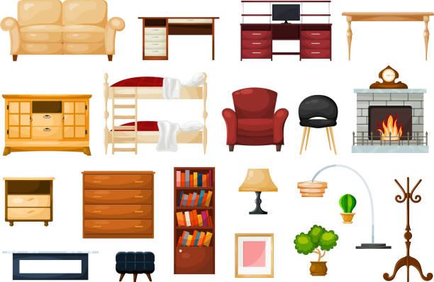 bildbanksillustrationer, clip art samt tecknat material och ikoner med vector möbler möbeldesign i vardagsrummet och möblerade inredning i lägenhet uppsättning soffbord med lådor att möblera rummet illustration isolerade på vit bakgrund - byrålåda