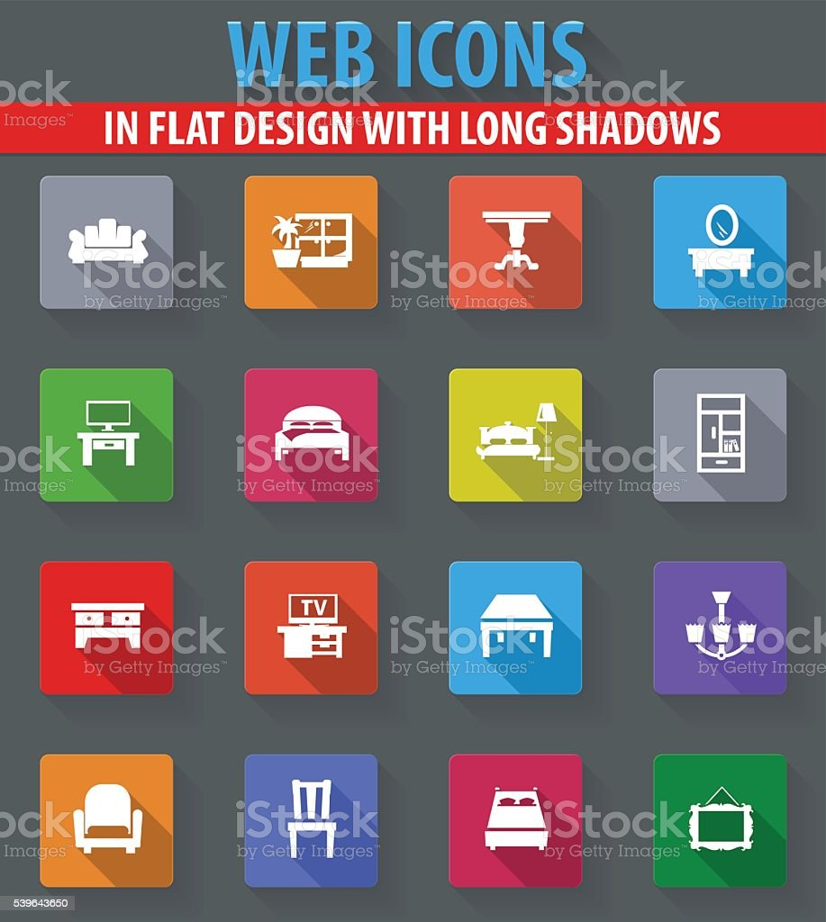 Furniture vector icons set vector art illustration