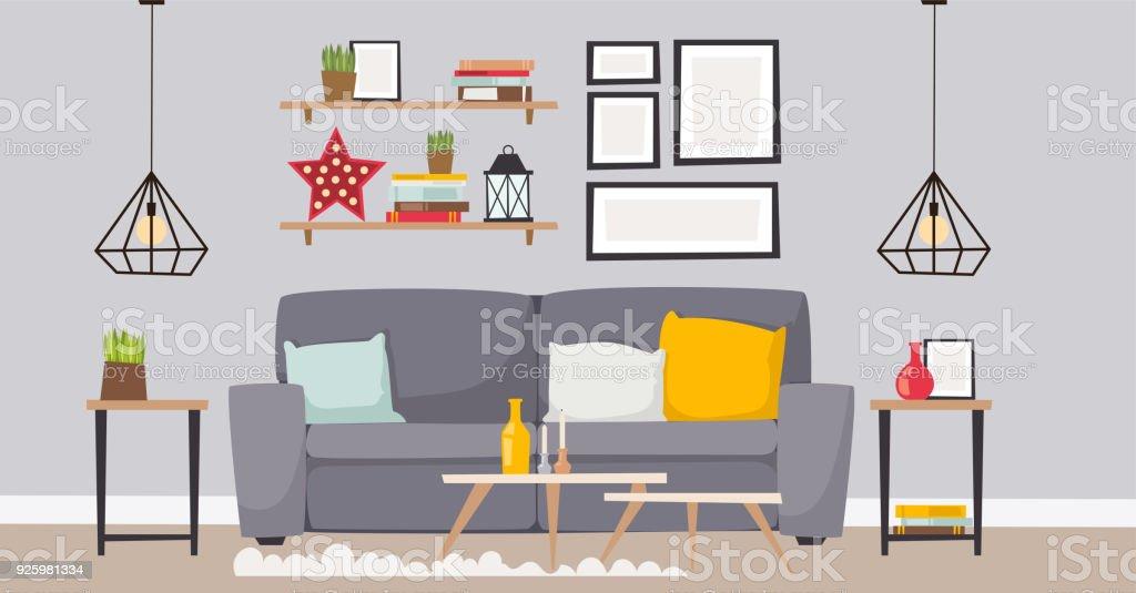 Meubels kamer interieur design appartement home decor concept plat eigentijds meubilair het platform binnen elementen vectorillustratie - Royalty-free Appartement vectorkunst