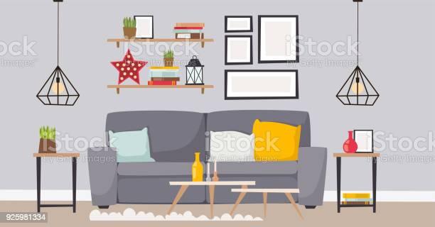 Meubels Kamer Interieur Design Appartement Home Decor Concept Plat Eigentijds Meubilair Het Platform Binnen Elementen Vectorillustratie Stockvectorkunst en meer beelden van Appartement