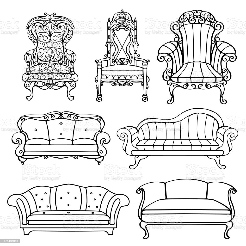 Furniture Vintage Set Stock Vector Art& More Images of 2015 475486058 iStock
