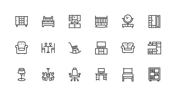 Furniture, Wardrobe, Armchair, Sofa, Home Icon Design