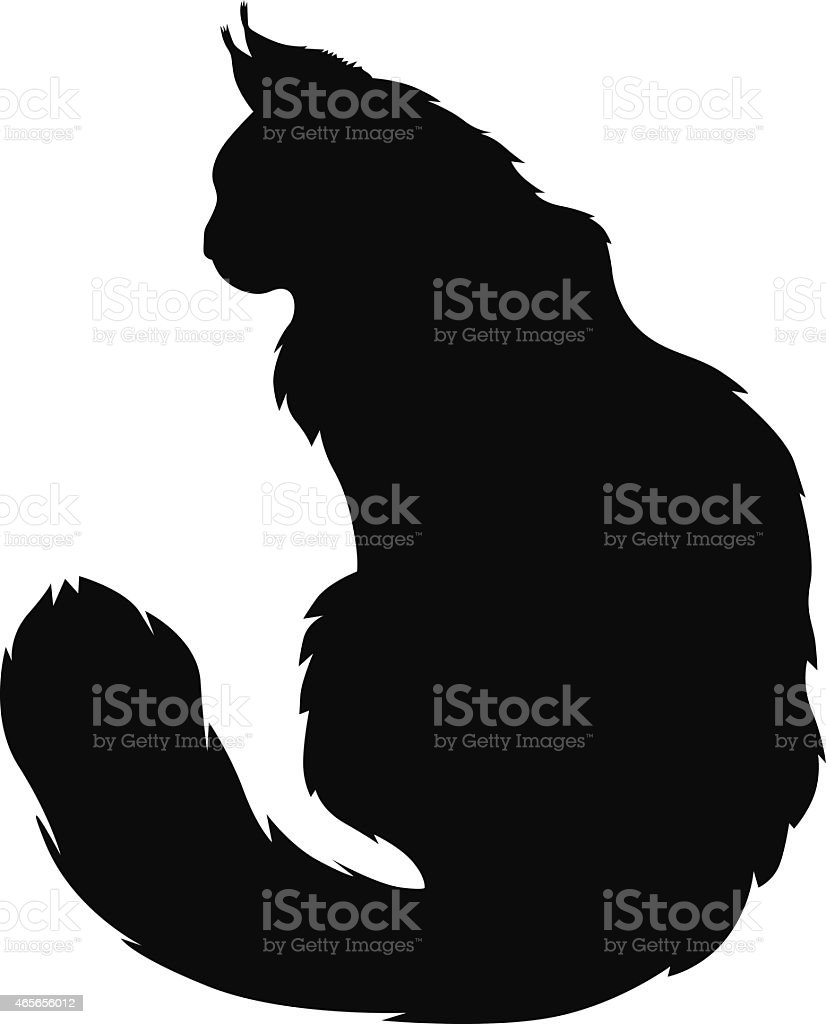 Furry cats silhouette vector art illustration