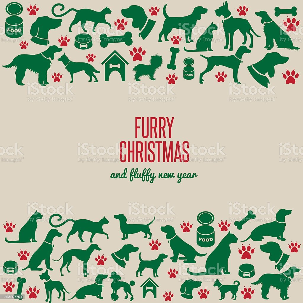 Furry Christmas and fluffy new year vector art illustration