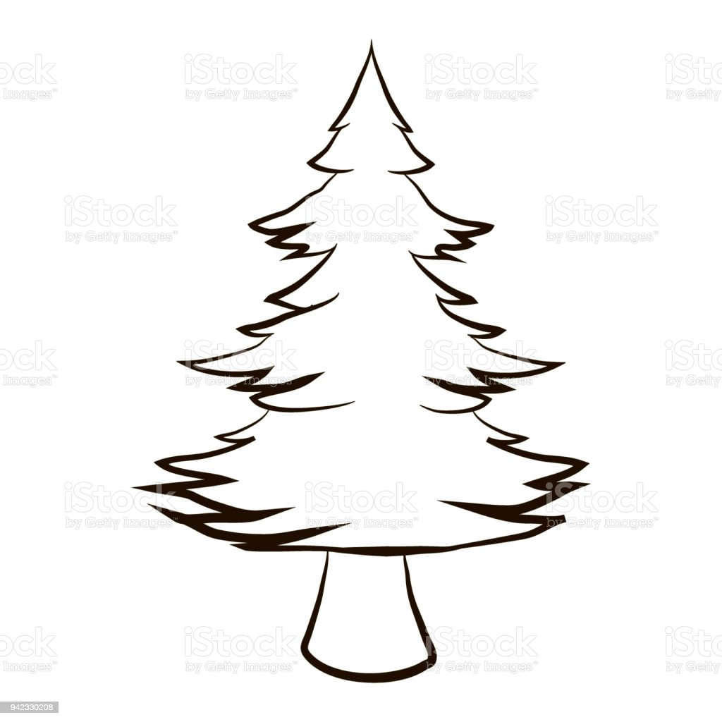 furry christmas tree close up christmas coloring pages cartoon vector illustration royalty