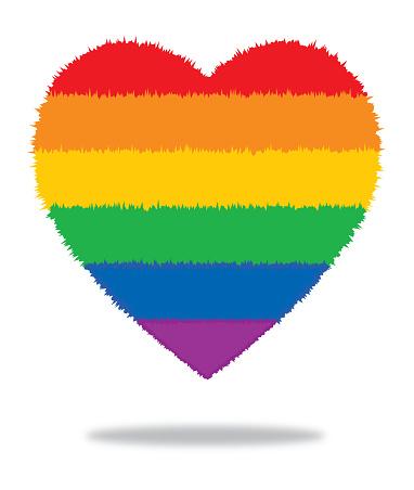 Furry Rainbow Heart With Shadow