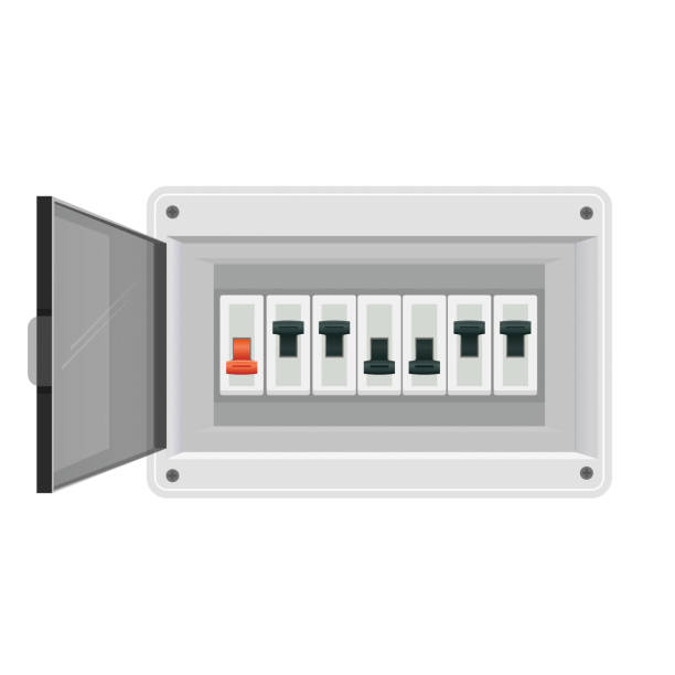 Fuse board box. Electrical power switch panel. Electricity equipment. Vector vector art illustration
