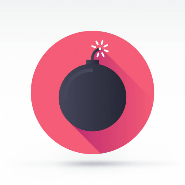 Fuse Bomb Icon Flat style with long shadows, fused bomb vector icon explosive fuse stock illustrations