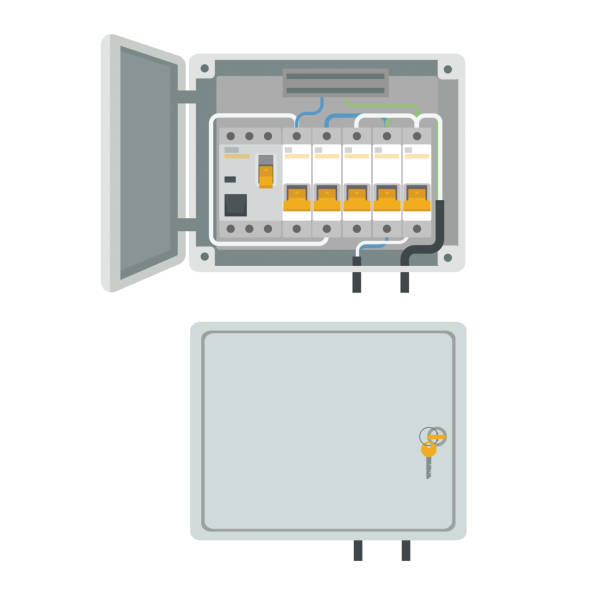 Fuse box. Electrical power switch panel. Electricity equipment. Vector vector art illustration