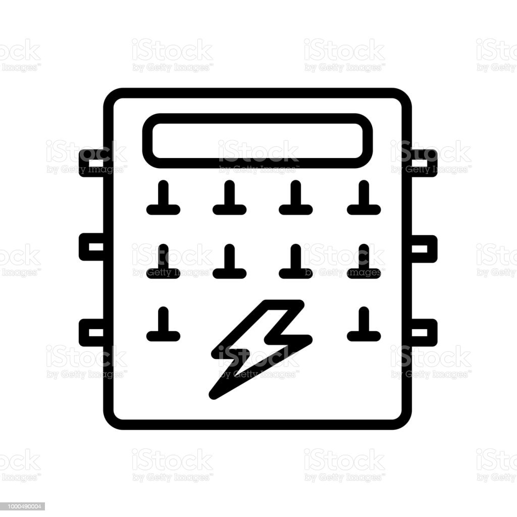 Fuse Box Icon Start Building A Wiring Diagram Chrysler Isolated On White Background Stock Vector Art More Rh Istockphoto Com Connection For Dryer Connectors