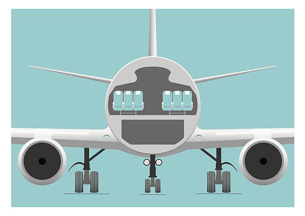 illustrazioni stock, clip art, cartoni animati e icone di tendenza di fusoliera sezione trasversale - sedili aereo